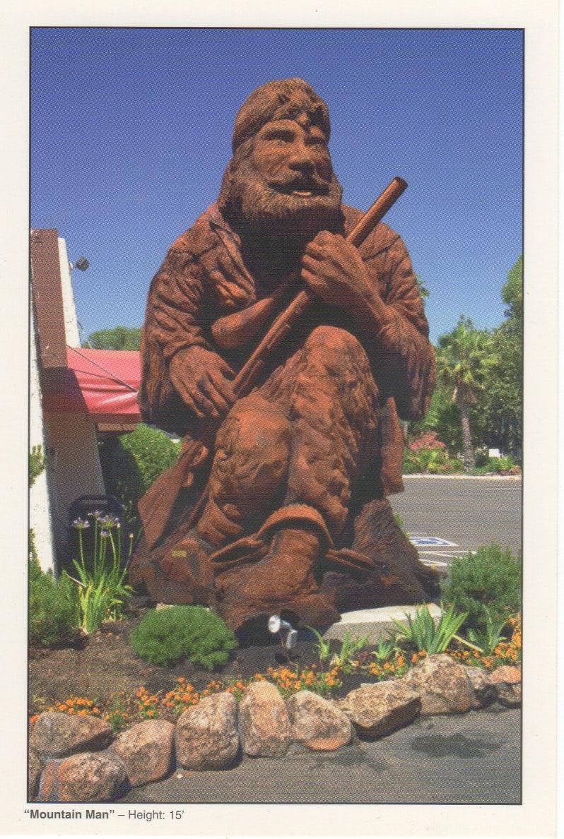 Large Redwood Sculpture - title - Mountain Man