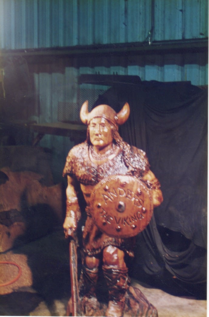 Viking - Redwood sculpture - Currently in the Husqvarna Chain Saw Corp Offices Stockholm Sweden - Image